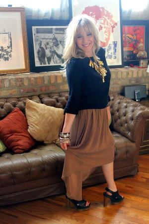 camel asymmetrical alythea skirt - Marni for H&M shoes - black H&M sweater