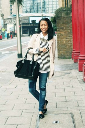 light pink blazer - blue H&M jeans