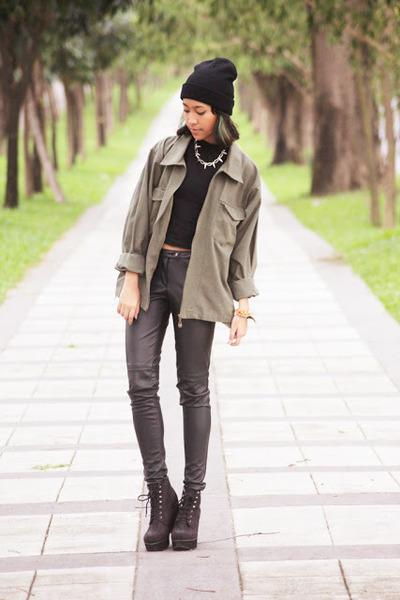 black beanie unknown hat - black faux leather H&M pants