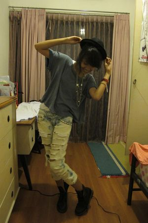 black LM for HW hat - blue Zara t-shirt - DIY jeans - black Dr Martens boots - s