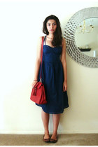 navy asos dress - ruby red Aldo bag - tawny H&M flats