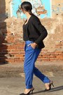 Black-h-m-blazer-black-polyester-mango-blouse-navy-zara-pants