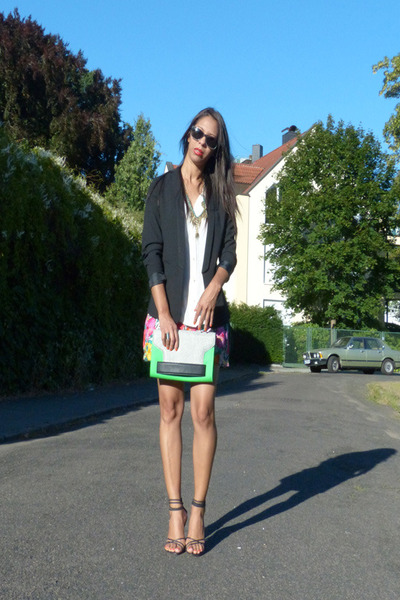 polyester H&M blazer - green H&M purse - viscose H&M shorts