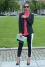 Black-h-m-blazer-green-h-m-bag-black-h-m-pants