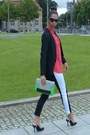 Black-h-m-blazer-green-h-m-bag-black-h-m-pants