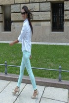 white cotton Esprit blouse - aquamarine New Yorker pants - beige sandals