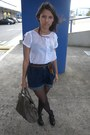 Heather-gray-bag-charcoal-gray-shorts-white-blouse-black-heels