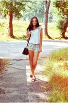 Terranova shirt - Choies shorts - CCC sandals - lindex wallet