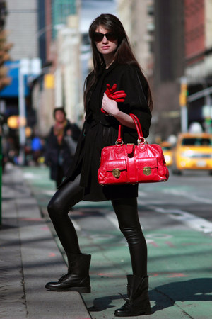 black Zara boots - black Juicy Couture coat - black Guess leggings