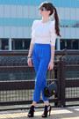 Blue-aqua-pants-black-chanel-bag-white-d-g-sunglasses