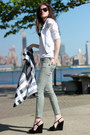 White-bebe-jacket-white-guess-pants-black-harajuku-lovers-wedges