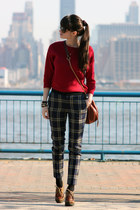 maroon Juicy Couture bag - brick red Gap sweater - navy Juicy Couture pants