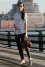 Cream-armani-exchange-shirt-dark-brown-juicy-couture-bag-ray-ban-sunglasses
