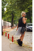 heather gray self made veil dress - black suede fringed boots - black bag