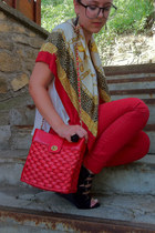 red Bershka jeans - vintage scarf - red Primark bag