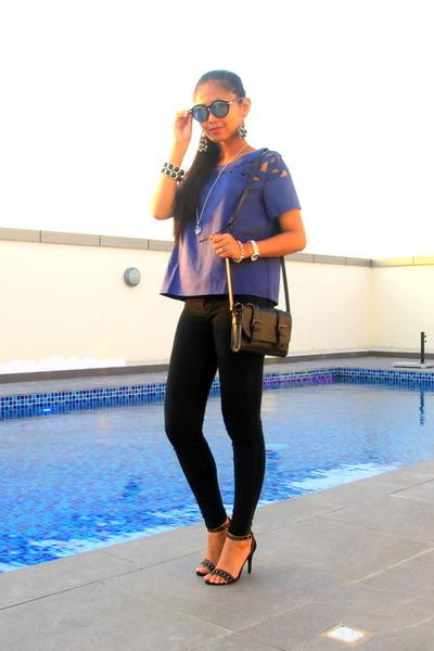 black Bershka jeans - white Zalora watch - deep purple Zalora blouse