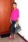 Dark-gray-jeans-black-bag-hot-pink-heels-hot-pink-blouse