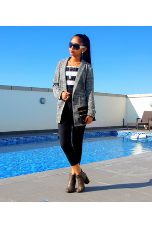 gray H&M cardigan - charcoal gray boots - white H&M necklace
