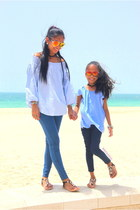 blue H&M blouse - ivory Max Fashion jeans