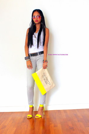 yellow clutch Bershka purse - yellow ankle strap H&M heels