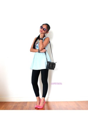 black bag - light blue dress - pink sunglasses - bubble gum heels - black pants