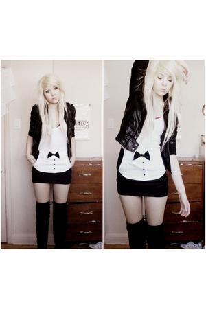 black H&M jacket - white shirt - black emily the strange skirt - black boots