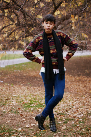 crimson knit thrifted sweater - navy denim Forever 21 jeans