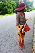 SCALA hat - Town and Country boots - Forever 21 dress - banana republic shirt