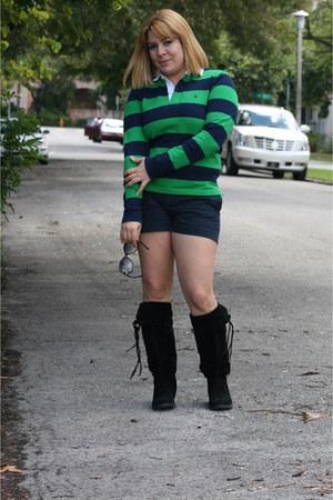black sued Dulce Rubio boots - stripes Polo sweater - Gap shorts