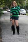 Black-sued-dulce-rubio-boots-stripes-polo-sweater-gap-shorts