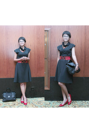 red Mika necklace - black Magnolia dress - black Gaudi bag