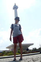 Noin hat - giordano t-shirt - Rainment necklace - Nevada shorts - Zara shoes