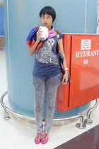 blue Mango t-shirt - silver Desire jeans - pink Icon9ty shoes