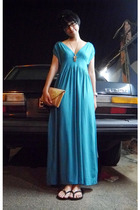 blue no brand dress - gold Forever 21 necklace - gold Red Herrings - Debenhams p