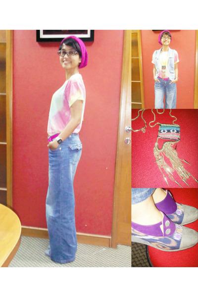 blue jeans Gaudi vest - blue jeans unbranded jeans - hot pink wool unbranded hat