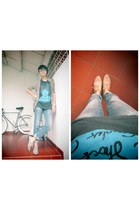black WSaTCC t-shirt - blue LM for HW jeans - camel Forever 21 loafers