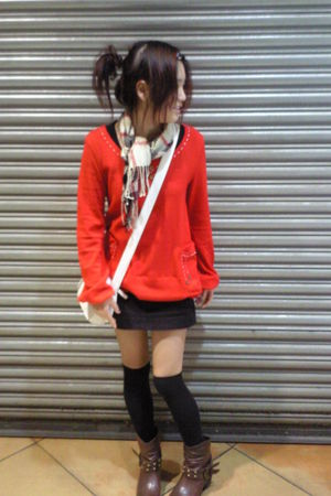 red sweater - black cotton on skirt - black socks - brown Rivers boots - beige R
