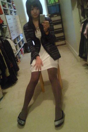 white coax dress - purple Ambra tights - blue cardigan - blue shoes - silver nec