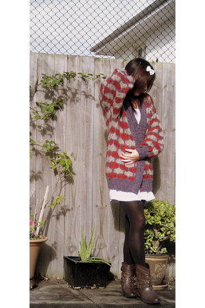 white coax dress - red cardigan - black Ambra tights - brown Rivers boots - whit