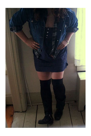 thrifted jacket - Alloycom dress - American Apparel socks - Frye boots - handmad