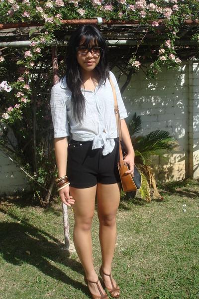bardot blouse - vintage shorts - Forever New shoes - Sportsgirl bracelet - vinta