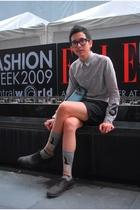 silver shirt - black Topman shorts - socks - Jshoes shoes - blue LANVIN TOTE acc