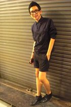 black The Alchemist shirt - black Top Man shorts - black vintage shoes - black