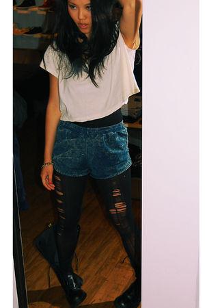 white American Apparel shirt - blue American Apparel shorts - black DIY tights -