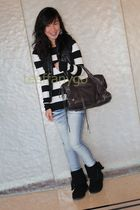 black Ugg boots - blue Hong Kong jeans - brown balenciaga purse - black Ralph La