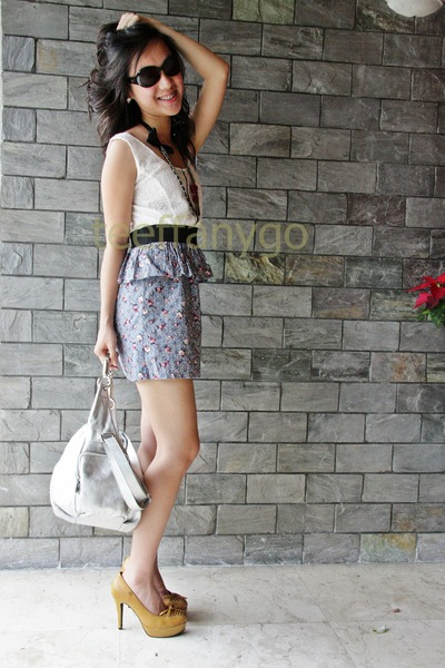 white thailand dress - silver Furla purse - beige Hong Kong shorts - purple Cana