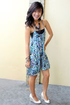 blue Vintage Hong kong dress - white Zara shoes - silver firma bracelet - blue O