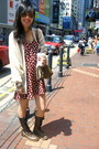 Brown-lace-up-boots-hong-kong-vintage-boots-crimson-vintage-pink-soda-dress-