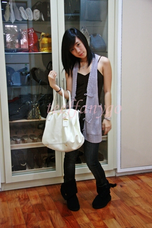Initial vest - Prada purse - from sister boots - BCBG shirt - Seven For All Mank