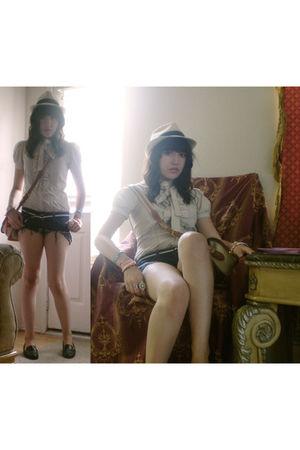 beige Forever 21 blouse - blue Bullhead shorts - beige hat - beige Dooney & Bour